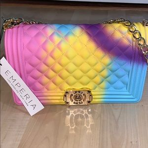 EMPERIA QUILTED JELLY PURSE - Rainbow & gold chain